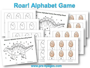 Printable Dinosaur Alphabet Game (upper and lowercase) for #preschool and #kindergarten