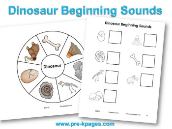 Printable Dinosaur Beginning Sounds Activity #preschool #kindergarten