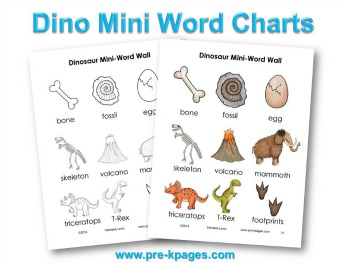 Printable Dinosaur Mini Word Charts #preschool #kindergarten