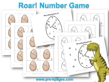 Printable Dinosaur Number Recognition Game for #preschool and #kindergarten