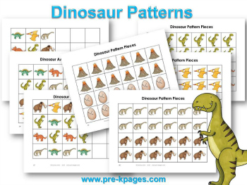 Printable Dinosaur Pattern Activity for #preschool and #kindergarten
