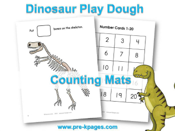Printable Dinosaur Play Dough Counting Mats #preschool
