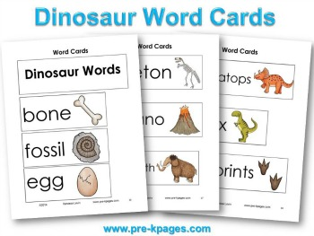 Printable Dinosaur Word Cards #preschool #kindergarten