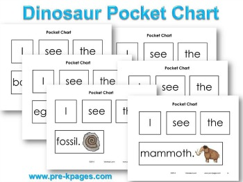 Printable Dinosaur Pocket Chart Sentences for Emergent Readers #preschool #kindergarten