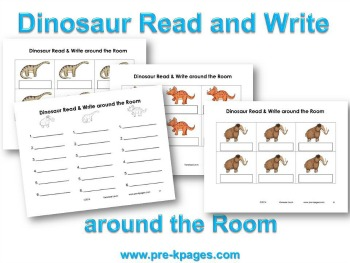 Printable Dinosaur Read and Write Around the Room Activity #preschool #kindergarten