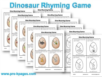Printable Dinosaur Rhyming Game for #preschool #kindergarten