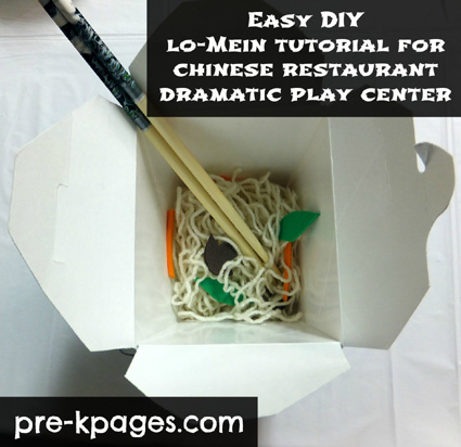 Easy DIY lo mein for chinese restaurant dramatic play center via www.pre-kpages.com