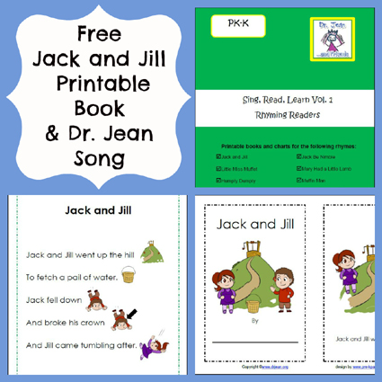 Free Printable Jack and Jill Book, Chart, and Song from Dr. Jean via www.pre-kpages.com