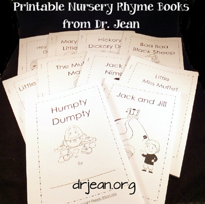 Nursery Rhyme Printable Packet plus mp3s from Dr Jean via www.pre-kpages.com