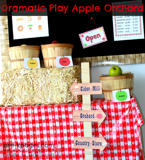 Dramatic Play Apple Orchard Printables for #preschool and #kindergarten