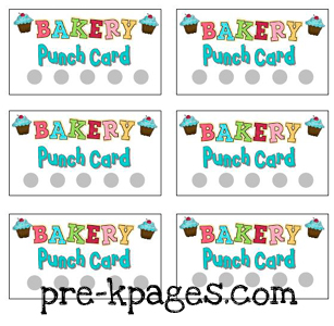 FREE Printable Bakery Punch Cards for Dramatic Play Center via www.pre-kpages.com
