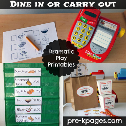 chinese restaurant dramatic play printables via wwwpre kpagescom