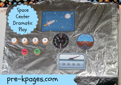 DIY Ground Control for Dramatic Play Space Center in preschool or kindergarten via www.pre-kpages.com