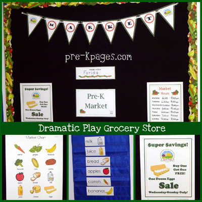 dramatic play farmers market center in preschool