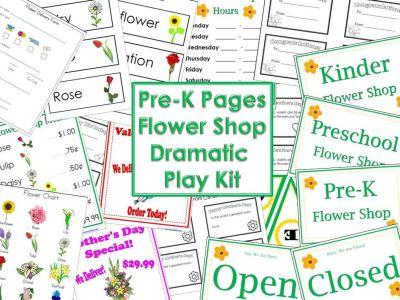 printable dramatic play flower shop kit