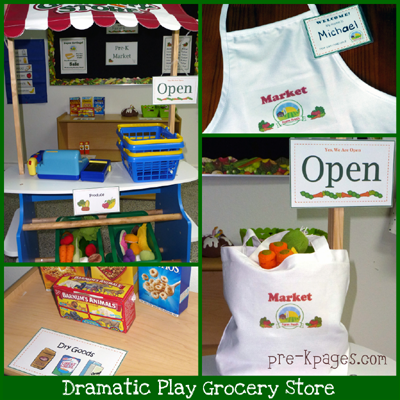 dramatic play grocery store in preschool