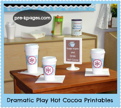 Hot Cocoa Dramatic Play Printable Kit for Winter in Pre-K and Kindergarten via www.pre-kpages.com