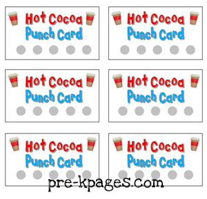 FREE Printable Hot Cocoa Punch Cards for Dramatic Play via www.pre-kpages.com