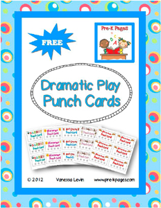 FREE Dramatic Play Punch Cards for Pre-K and Kindergarten via www.pre-kpages.cm