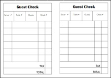 Free printable dramatic play restaurant guest check via www.pre-kpages.com