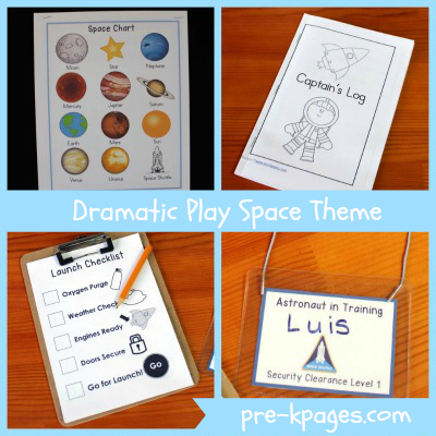 Dramatic Play Space Center Theme Printables via www.pre-kpages.com