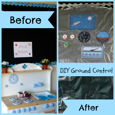 DIY Dramatic Play Ground Control for Space play in preschool or kindergarten via www.pre-kpages.com