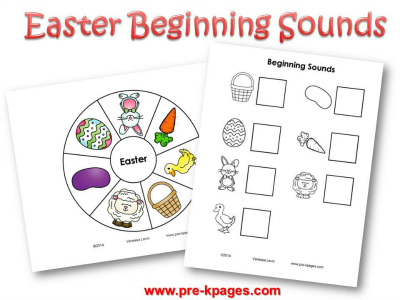 Printable Easter Beginning Sounds Activity #preschool #kindergarten
