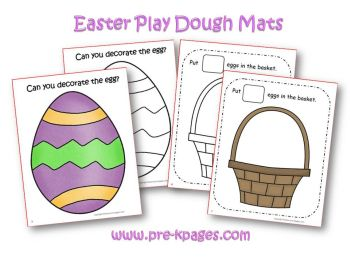 easter playdough counting mats in preschool