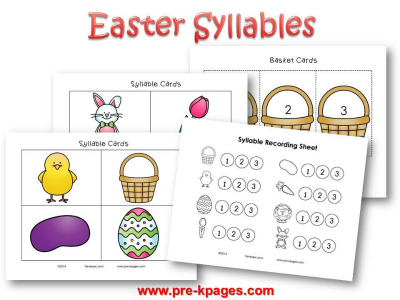 Printable Easter Syllable Activity #preschool #kindergarten