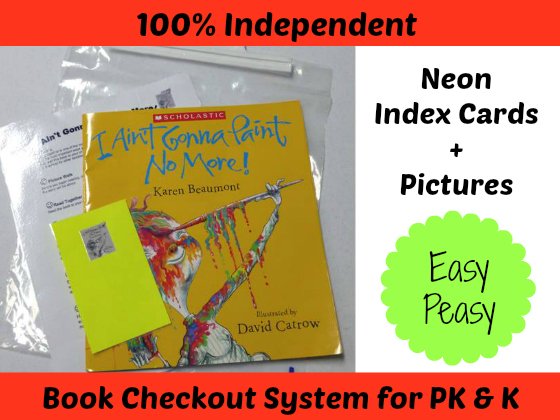 Easy Peasy Book Checkout System for #preschool and #kindergarten