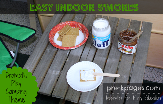 Free Indoor S'mores Printable Picture Recipes for Dramatic Play Camping Theme in Preschool and Kindergarten