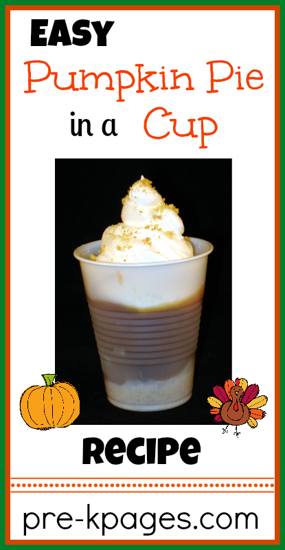 Easy Pumpkin Pie in a Cup Printable Recipe for kids