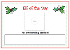 Free Printable Elf of the Day Sign for your Holiday Dramatic Play Center via www.pre-kpages.com