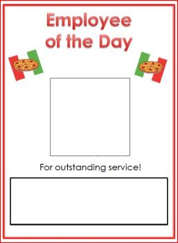 free pizza shop employee of the day printable
