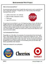 Free printable environmental print note to parents via www.pre-kpages.com
