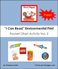 Free printable environmental print pocket chart activity via www.pre-kpages.com