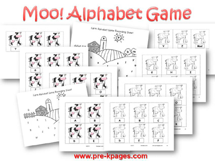 Printable Farm Alphabet Game for Preschool and Kindergarten