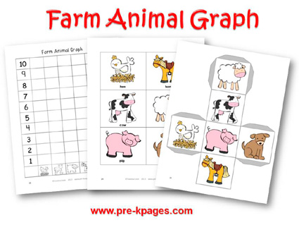 Farm Animal Graph for preschool and kindergarten