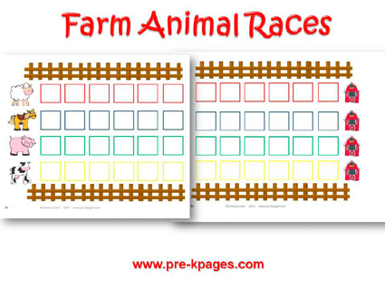 Farm Animal Races for preschool and kindergarten