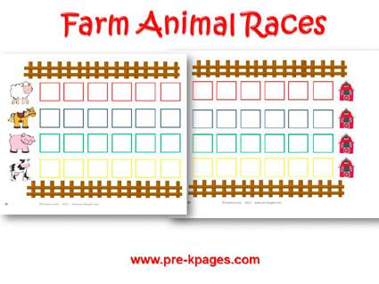 Farm Animal Races for preschool and kindergarten
