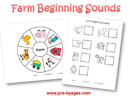 Farm Beginning Sounds Printable Activity for Preschool and Kindergarten
