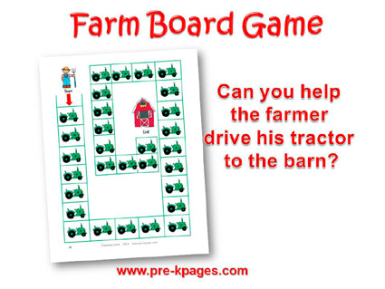 Printable Farm Board Game for preschool and kindergarten