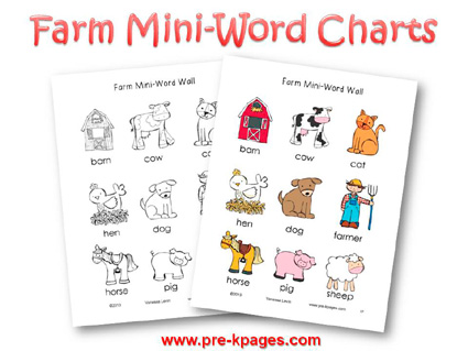 Printable Farm Word Charts for preschool and kindegarten