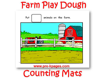 Printable Farm Play Dough Counting Mats for Preschool and Kindergarten