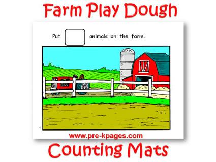 Printable Farm Play Dough Counting Mats for Preschool and Kindergarten