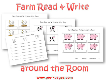 Farm Read and Write Around the Room Activity for preschool and kindergarten