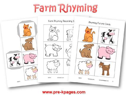 Farm Rhyming Activity for preschool and kindergarten