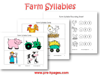 Farm Syllable Activity for Preschool and Kindergarten