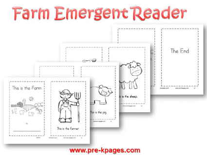 Farm Printable Emergent Reader for preschool and kindergarten