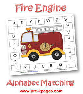 Free Fire Engine Alphabet Clothespin Activity via www.pre-kpages.com